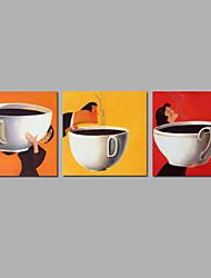 Ручная роспись Абстракция Продукты питания Квадратная,Modern 3 панели Холст Hang-роспись маслом For Украшение дома