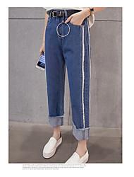 primavera signo coreano marea viento bf el borde blanco de costura jeans rectos de otoño e invierno femeninos de Corea pantalones
