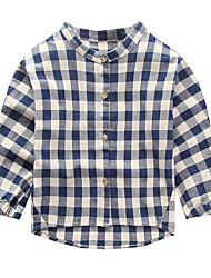Casual/Daily Check Blouse,Cotton Spring Fall