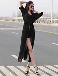 Summer in Europe and America temperament long-sleeved chiffon shirt long cardigan dress clothes anti-Sai