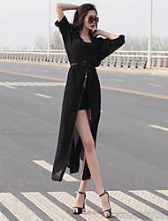 Summer in Europe and America temperament long-sleeved chiffon shirt long cardigan dress clothes anti-Sai