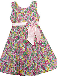 Girls New Summer Dress Purple Floral Bow Dresses Beauty Party Birthday Pageant Children Clothing