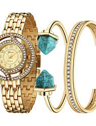Fashion Women's Watches  Wristwatches Bracelet Watch Set Quartz Rhinestone Colorful Stainless Steel Ladies Watch Gold Watch montre femme (3PCS/SET)