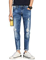 Masculino Vintage Simples Moda de Rua Cintura Baixa Micro-Elástico Jeans Chinos Calças,Delgado Cor Única