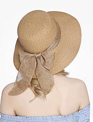 Для женщин Очаровательный На каждый день Соломенная шляпа Шляпа от солнца,Лето осень Соломка Однотонный