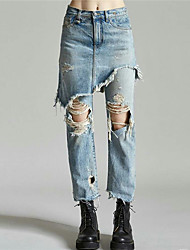 With 20 new winter wild European and American models irregular fake two holes in jeans female casual trousers