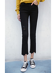 Signo nuevo jeans elástico de la cintura desgastado delgados nueve puntos weila pantalones trompeta femenina pantalones