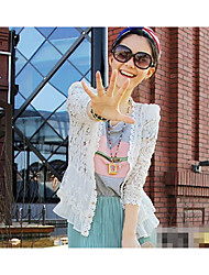 The new was thin shoulder pads luxury stitching hollow lace cardigan sun shirt air-conditioned shirt