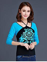 Tee-shirt Femme,Fleur Sortie Décontracté / Quotidien Chinoiserie Manches Longues Col Arrondi Coton