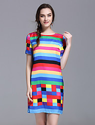 YHSPWomen's Going out Beach Holiday Simple Sheath DressStriped Color Block Rainbow Round Neck Above Knee Short Sleeve Silk Summer Mid Rise
