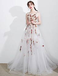 Formal Evening Dress A-line Scoop Chapel Train Tulle with Appliques