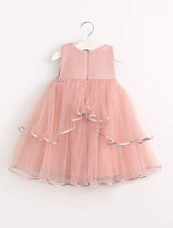 Girl's Holiday Solid Dress,Cotton Summer Sleeveless