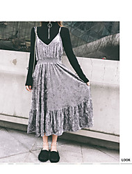 Women's Casual/Daily Simple Skater Dress,Solid Round Neck Maxi Long Sleeve Faux Fur Summer High Rise Micro-elastic Medium