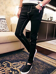 Men's Mid Rise Stretchy Jeans Pants,Simple Slim Skinny Solid