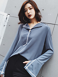 Model real shot in spring 2017 new Korean version hit the color bar fight lapel loose solid color long-sleeved shirt