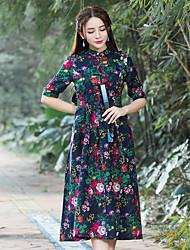 2017 été nouveau rétro du vent national chinois était mince robe en coton mis sur une grande plaque boutons serre robe robe