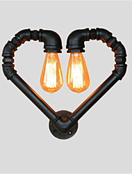 Vintage Water Pipe Loving Heart Creative Wall Lights  Industrial Living Room Restaurant Bars Cafe decoration Wall Sconces