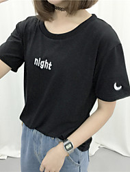 Foreign women new Korean short-sleeved T-shirt embroidered day night student class service