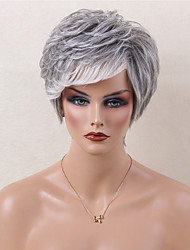 Short Layered Natural Wavy Grey Wig Capless Human Hair Wig With Side Bangs  Heat Resistant For Women 2017