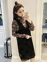 2017 new suit skirt 2017 floral chiffon dress two-piece hollow lace Dress