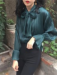действительно делает 2016 новую волну в корейском стиле ретро плиссированные блестящий галстук-бабочку блузка 3
