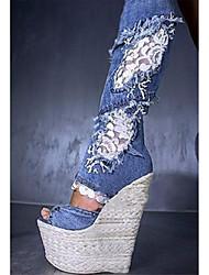 Femme-Mariage Extérieure Soirée & Evénement Habillé Décontracté-Bleu-Talon Compensé-Confort Nouveauté club de Chaussures-Sandales-Tissu