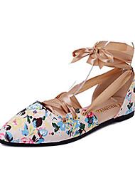 Damen-Sandalen-Kleid Lässig-PU-Flacher Absatz-Komfort-Schwarz Mandelfarben
