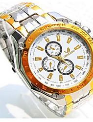 Masculino Relógio de Moda Quartzo Aço Inoxidável Banda Casual Prata Dourada Branco Preto Amarelo