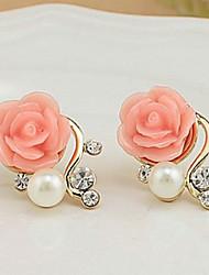 Stud Earrings Pearl Imitation Pearl Rhinestone Alloy Euramerican Flower White Red Jewelry Casual 1 pair