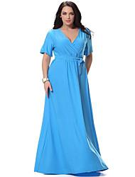 Для женщин Большие размеры Богемный С летящей юбкой Платье Однотонный,Глубокий V-образный вырез Макси С короткими рукавамиХлопок