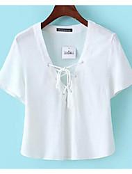 Aliexpress 2016 modèles d'explosion de dentelle v-cou manches courtes t-shirt femme