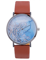 Women Fashion Watch Wrist watch Quartz Leather Band Charm Cool Casual World Map Pattern Unique Creative Black White Brown Pink