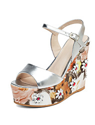 Women's Sandals Summer Fall Club Shoes Cowhide Wedding Office & Career Dress Wedge Heel Buckle Flower