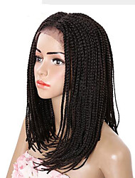 braided wig lace frotal synthetic braiding wig 16inch dark brown color women's wig synthetic box braids wig 1pc