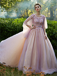 Formal Evening Dress - Elegant A-line Jewel Floor-length Lace Tulle with Beading Lace Pleats