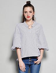 Europeu e americano real tiro primavera e verão colarinho de metal solto anel bolha lanterna manga camisa camisa feminina