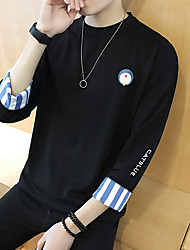 Men's Casual/Daily Active Simple Sweatshirt Print Jacquard Round Neck Micro-elastic Cotton ¾ Sleeve Summer