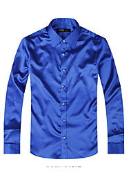 Men's Casual/Daily Club Simple Shirt,Solid Shirt Collar Long Sleeve Polyester
