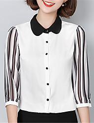 Women's Going out Casual/Daily Street chic Spring Shirt,Color Block Peter Pan Collar ¾ Sleeve Polyester Medium