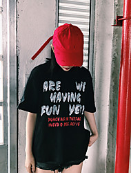 printemps version coréenne des lettres graffiti simples en vrac bf rétro imprimé modèles couple t-shirt à manches courtes couverture