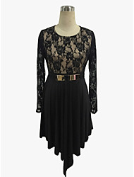 Women's Going out Lace Little Black Dress,Embroidered Round Neck Asymmetrical Long Sleeve Others Summer Mid Rise Micro-elastic Medium