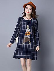 Sinal de algodão primavera nova impressão de tamanho grande vestido de mangas compridas era fina saia xadrez literária uma palavra