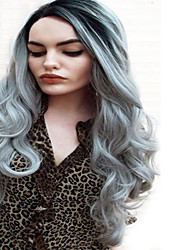 Ombre Grey Wig Cheap Natural Hair Wig Long Curly Synthetic Wigs For Women 24 Inch Synthetic Wigs Heat Resistant