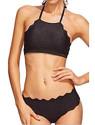 Women's Halter Bikini,High Rise Polyester Spandex