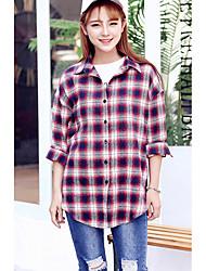 Sinal 2017 korea instituto de vento solta casual camisa de mangas compridas xadrez camisa feminina selvagem bottoming