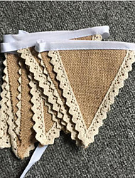 New Arrive Rustic Hessian Wedding Party Supplies Home Decoration Jute Burlap Flag Banners Burlap Lace Bunting Wedding Sign