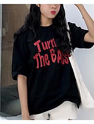 Assinar coreano estudantes letras soltas impresso moda selvagem casual de mangas curtas t-shirt