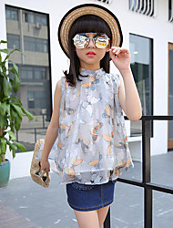 Casual/Daily Beach Holiday Floral Shirt,Polyester Summer Sleeveless