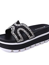 Damen-Sandalen-Kleid-Mikrofaser-Keilabsatz-Komfort-Gold Schwarz Silber