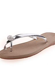 Slippers & Flip-Flops Summer Comfort PU Casual Flat Heel Rhinestone